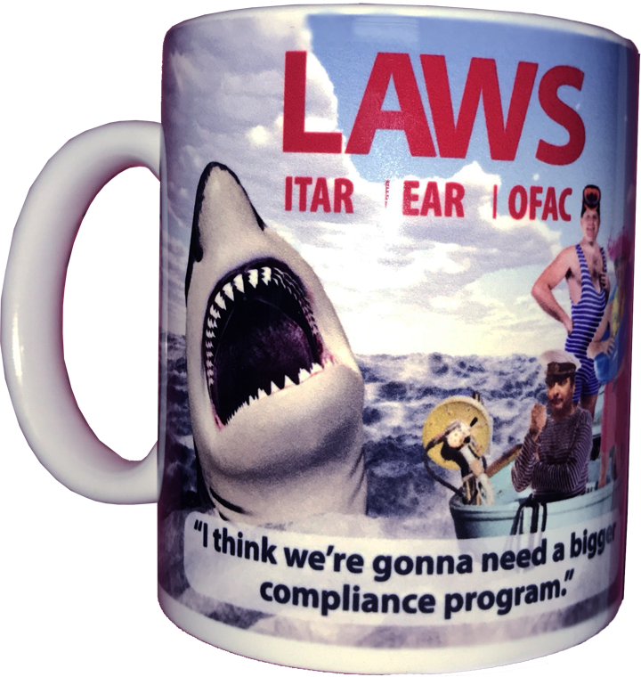 "A mug with a shark attacking a boat. It has a header with LAWS and subtitle, ""I think we're going need a bigger compliance program."""