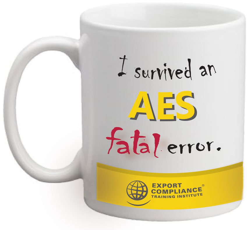"A mug with the title, ""I survived an AES fatal error."""